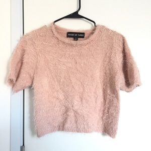Pink fuzzy LF top